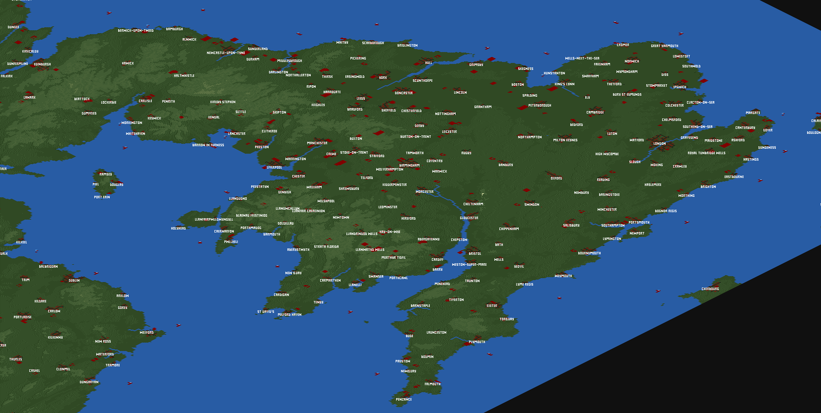 Map screenshots of England and Wales World